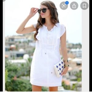 J. crew white lace up dress in linen size 8